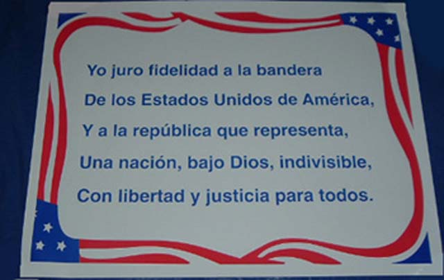 photo about Pledge of Allegiance in Spanish Printable identify Spanish_Pledge_of_allegiance_poster Vibrante Push
